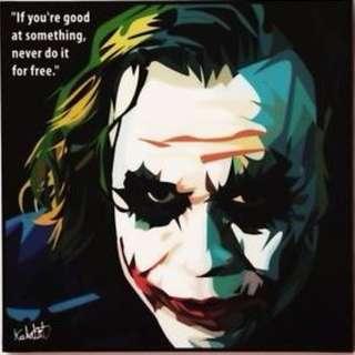 FAST DEAL $20. Joker Heath Ledger Acrylic Pop Art