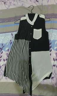 🚚 不對稱黑白小立領無袖雪紡襯衫