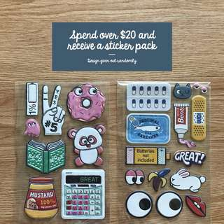 Free Sticker Pack With Minimum Spending Of $20
