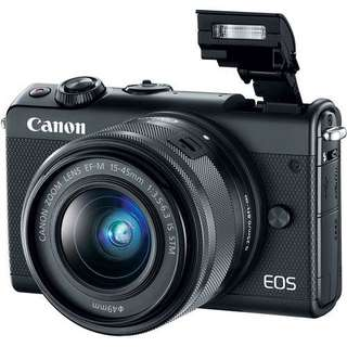 Canon EOS M100 Mirrorless Digital Camera with 15-45mm Lens (Black&White&Grey) Bisa Kredit DP Ringan