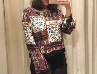 Boho bell sleeved top