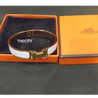 BRAND NEW - AUTHENTIC HERMES CLIC CLAC BRACELET , IN WHITE & GOLD - SIZE M