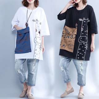 Plus Size Summer Long-Sleeved Printed T-Shirt T-Shirt