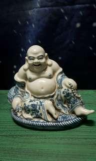 青花普墩罗汉佛像 white and blue Buddha