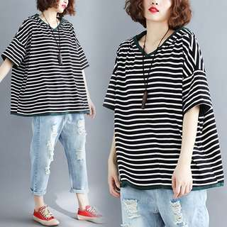 Plus Size Women's loose casual hooded sweater women's short-sleeved T-shirt striped shirt