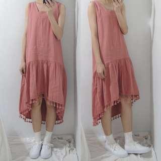 。error dot。韓製小清新弧形下擺流蘇棉麻洋裝