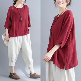 Plus Size Cotton and linen T-shirt summer loose round neck bat sleeve half-sleeved shirt