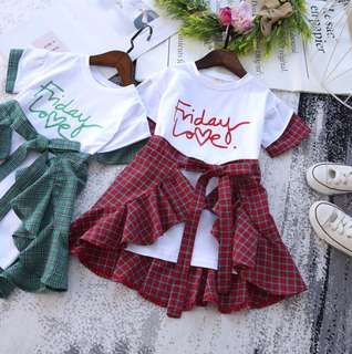 Girls short-sleeved letter gown + baby lace plaid skirt two sets