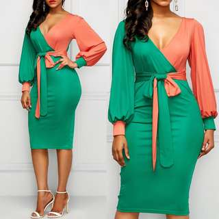 Free Shipping Promotion-15-25 Shipping Time for Women Green Lace Up Lantern Sleeve Bodycon Dress