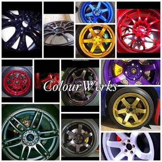 Rim Spraying, Brake Caliper Spraying, Carbon fibre Relacquering etc