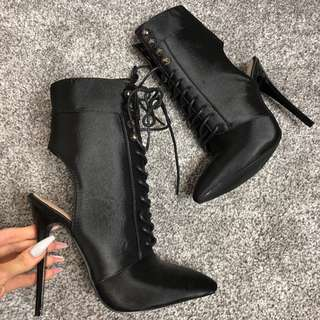 brand NEW black satin boot heels