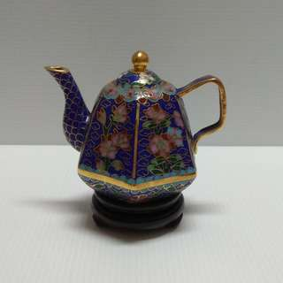 Vintage Chinese Cloisonne Hexagon Shape Bronze Enamel Ornamental Blue Tea Pot