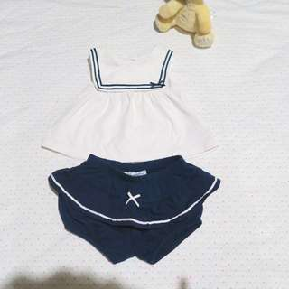 Cute sailor baby girl clothes one set