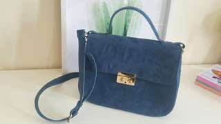 Zara Blue Suede City Handbag