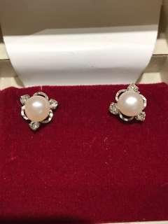 正品:Swarovski 水晶配淡水珍珠耳環