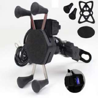 Motorcycle X Grip Clamp Handphone Mount With USB Charging Port*Out of stock*