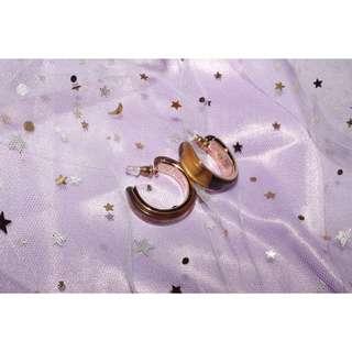 現貨💜銀針 復古C型琥珀圓圈耳環💜