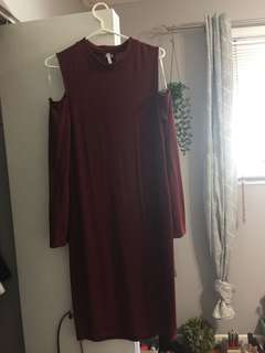 Off the shoulder long sleeve red dress
