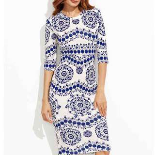 Free Shipping Promotion-15-25 Days Shipping Time for Blue & White Porcelain Printed Bodycon Dress