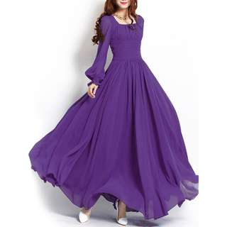 Free Postage Promotion-15-25 Days Shipping for Purple Plain Square Neck Long Sleeve Women s Maxi Dress