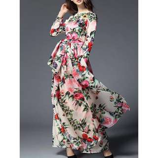 Free Shipping Promotion-15-25 Days Shipping Time for Women Maxi Long Sleeve Floral Print Dress