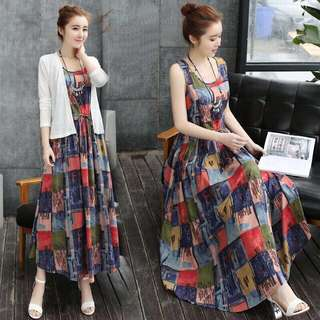 Free Shipping Promotion-15-25 Days Shipping for 2pcs/1 set Colourful Printed Women Maxi Dress+ Outfit Shirt