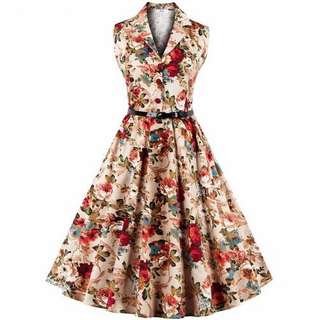 Free Shipping Promotion-S-4XL Woman Vintage Cotton Casual Dresses