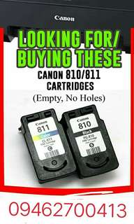 Im looking for canon empty ink cartridges, PG 810 and CL811