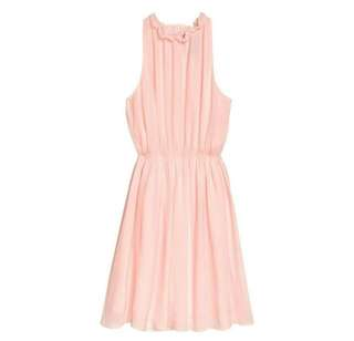 H&M Pink Chiffon Midi Dress