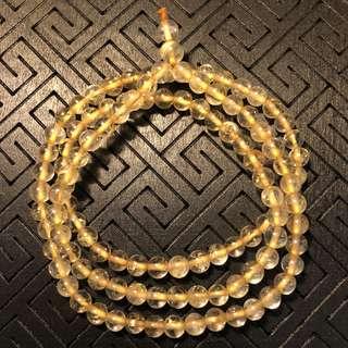 天然金髮晶招財三圈手珠