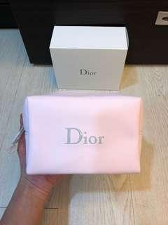 便宜賣Dior2018新品迪奧正品馬卡龍皮質Logo粉嫩化妝包附盒 粉