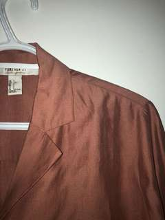 F21 Dark nude pink button up (Size L)
