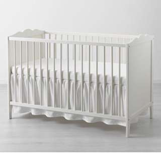 Ikea Hensvik White Baby Cot with Vyssa Mattress