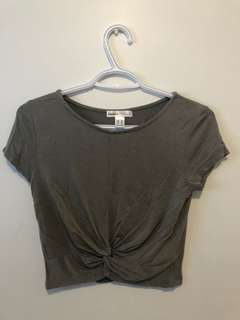 Olive green knot crop top (Size M)