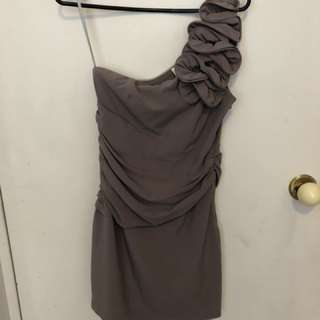 One shoulder, taupe party dress