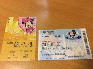 Disney Resort Line 1 day pass 車票 + Tokyo Disney Sea 門票 2006年