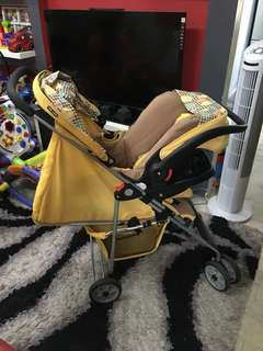 Happy Dino Heavy Duty Travel Stroller with Car Seat