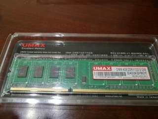 UMAX DDR3 1333 4G記憶體2條