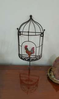 Colorful Rooster Cage Design Wall hanger