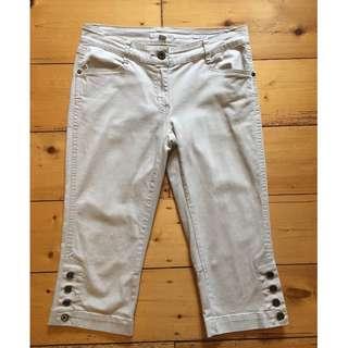 SABA Jeans Pants 3/4 Cream Beige Size 8 Excellent Condition
