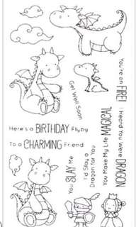 Adorable Dino rubber stamps set