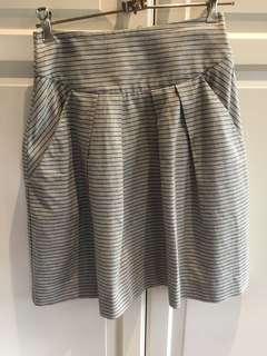 Cue grey and white stripe skirt size 6 excellent condition