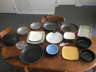 Plates pans pots