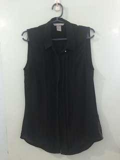 H&M black sleeveless button down