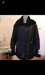 Acne style shearling leather jacket