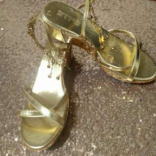 Gold Rhinestone Wedge Jeweled Shoes Formal Casual OOTD Summer Shoes