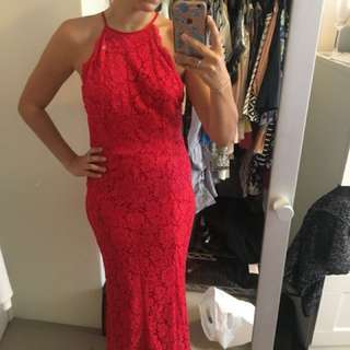 Red lace floor length dress