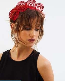 Olga Berg Red Fascinator Headpiece Crown