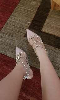 Authentic valentino rockstud heels baby pink