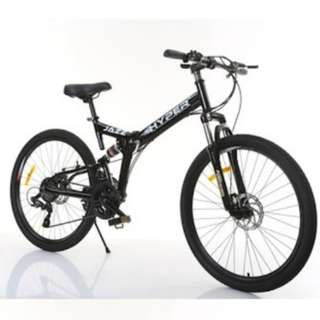 PROMO- Free Delivery-(Full Suspension Bike) Brand new 26 inch Foldable Mountain Bike, 21 Shimano gear/speed,front and back Disk brakes etc.